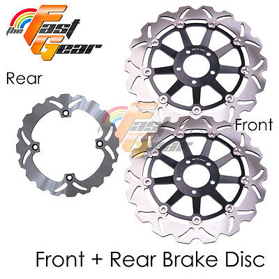 Front Rear SS Brake Disc Rotor Set For Kawasaki ZX-12R Ninja 00 01 02 03