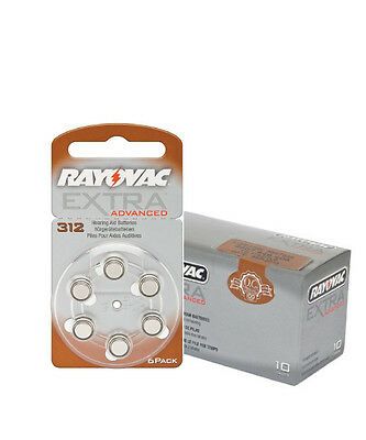 Box of Rayovac Extra Hearing Aid Batteries size 312 (60 cells)