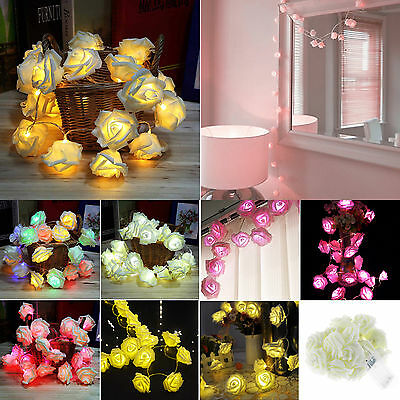 2M 20LED Rose Floral Fairy Xmas Wedding Party Home Bulb Decor String Lights Lamp