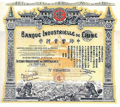 Banque Industrielle de Chine historische Aktie Paris 1920 China Bank Drachen