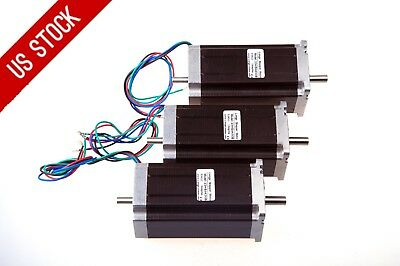 US Free Ship 3PCS Nema23 Stepper Motor Dual Shaft 425oz-in 3A 115mm 1.8° LONGS