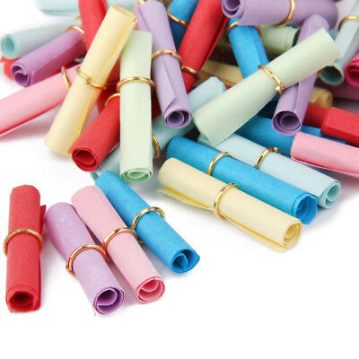 50x Multicolor Expression Wish Scrolls Paper Gift in Gold Ring Party Favors