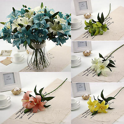 1PC Double Smulation Lily Artificial Flower For Wedding Party Home Decoration