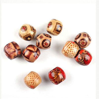 100 X 10MM Mixed Round Wooden Beads Jewelry Making Loose Spacer Charms Craft