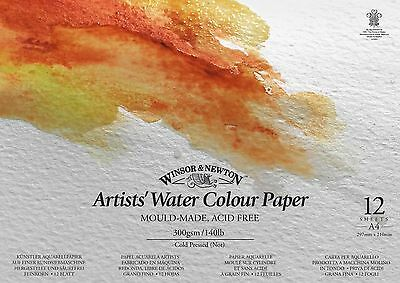 Winsor & Newton Artists Watercolour Painting Gummed 300gsm CP Paper Pad A3