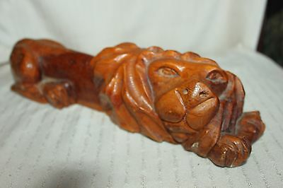 Antique Wooden Hand Carved Laying Down Lion Beautiful Statue  Folkart?