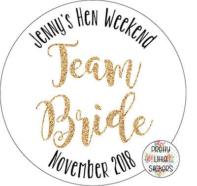 50 x Personalised Team Bride Hen Stickers Invites/Favours/Thank you Novelty