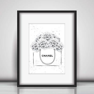 Chanel Bag & Grey Peonies Art Sketch & Watercolour Picture Print in 5 sizes