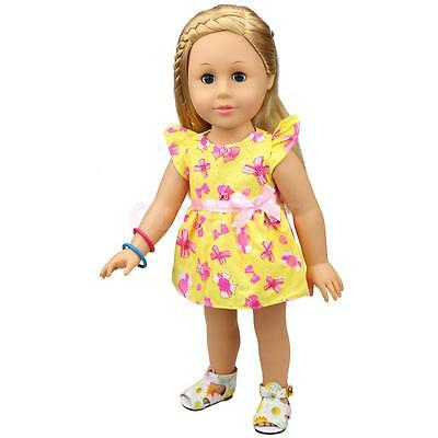 Cute Yellow Bowknot Print Dress for 18inch American Girl Our Generation Doll