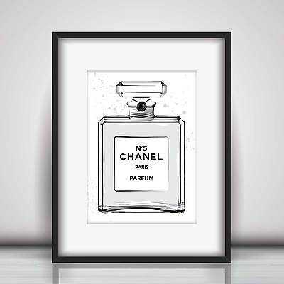 Chanel No 5 Grey Perfume Art Sketch & Watercolour Picture Print in 5 sizes