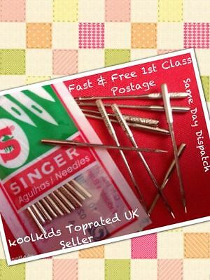 Singer Domestic Sewing Machine Needles,pack Of10,size,10,12,14,16 &18,free Post