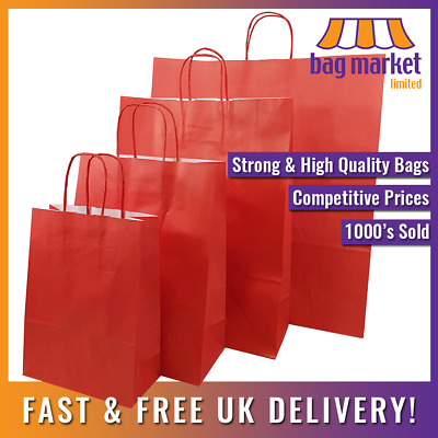 Strong Red Twisted Handle Paper Bags! | Carrier/Kraft/Shop/Gift/Fashion/Party!