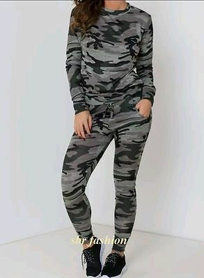 Womens Blue Camouflage Army Loungewear Set Sweatshirt Joggers Tracksuit Pants
