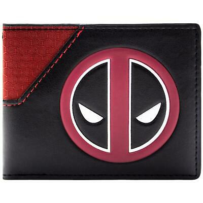New Official Cool Deadpool Face Logo And Print Red & Black Bi-Fold Wallet