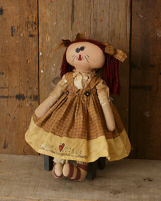 """Sitting 17 1/2"""" Love is A Vine Decorative Country Primitive Rag Doll"""