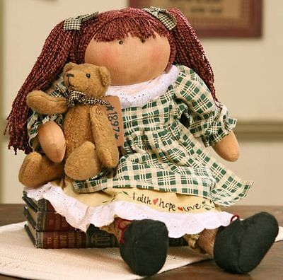 """Sitting 20 1/2"""" Charity W/Bear Old Friend Decorative Country Primitive Rag Doll"""