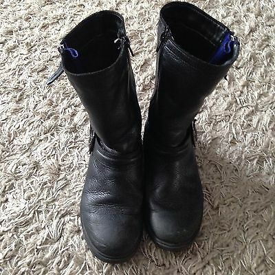 New Girl's Clarks Biddle Girl Navy leather Boots, size 1.5F ...