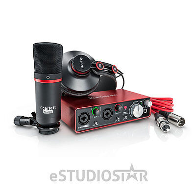 Focusrite Scarlett 2i2 USB Audio Recording Interface Studio Pack- 2nd Generation