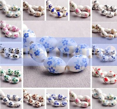15mm Oval Blue And White Ceramic&Porcelain Spacer Loose Beads For Bracelet