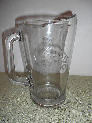 """Original Coors Beer Rodeo Etched Heavy Glass Banquet Pitcher 9"""" Tall"""
