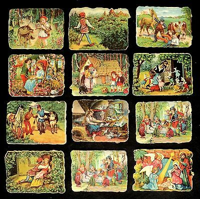Lot  of 12 Classical Stories Victorian Trading Cards, Original Antique Die Cuts