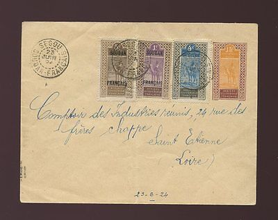 FRENCH SAHARA MALI SEGOU POSTAL STATIONERY UPRATED with AOF OPTS.CAMELS 1924