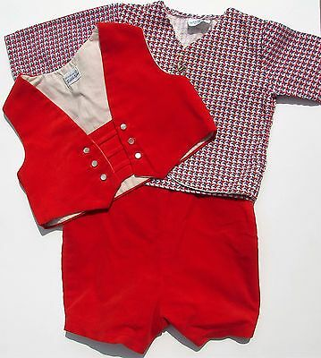 Vintage Baby Boy Infant Clothes Red Velveteen Outfit Vest Short Pants Shirt XL