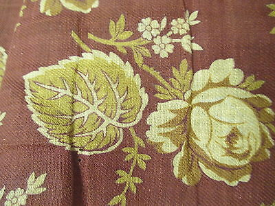 Antique Fabric Material Wool Challis golden Roses & Leaves on terra cotta
