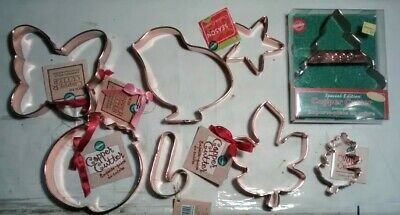 Lot of 8 Wilton Copper Cookie Cutters new with tags large Pumpkin Acorn leaf