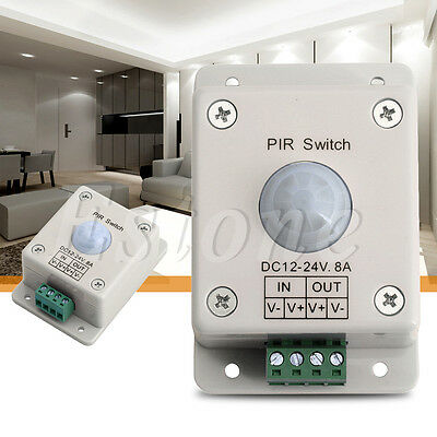 DC 12V-24V 8A Automatic Infrared PIR Motion Sensor Switch For LED light Xmas Dec