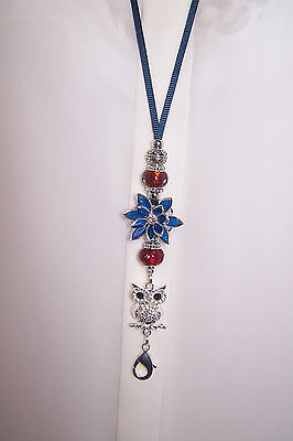 Blue Rhinestone Flower & Silver Owl and Red Beaded Lanyard /ID Badge Holder