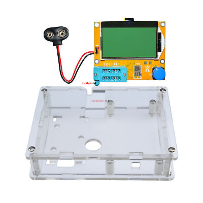 Clear Acrylic Case Shell Housing+LCR-T4 Transistor Tester Capacitance ESR Meter