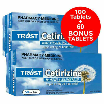 100 Tablets Of Cetirizine 10Mg - Same As Zyrtec - Australian Made Brand