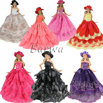 3 Evening Party Handmad Random Clothes Dresses Grows For Barbie Doll Xmas Gifts