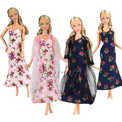 2 Sets Fashion Clothes Dresses Outfit with Lace Coat for Barbie Doll Xmas Gift