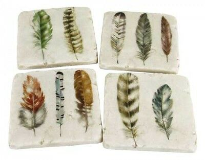 """SET of FOUR (4) Drink Coasters Square Cork Resin """"FEATHERS"""" Modern Design 10cm"""