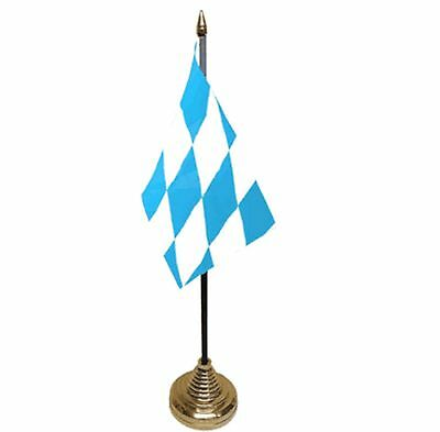 "BAVARIA DESKTOP TABLE FLAG 6""X4"" 15cm x 10cm flags BAVARIAN GERMANY GERMAN"