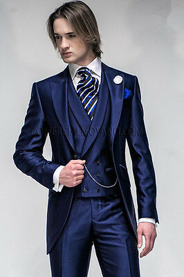 Slim Fit Navy Groom Tuxedos Peak Satin Lapel Best man Grooms Men Wedding Suits