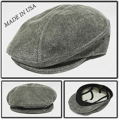 36b36df99b3 100%distres Leather Snap Brim Newsboy Ascot Ivy Driving Golf Cap Hat Made  In Usa