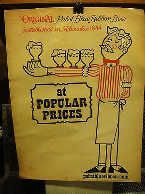 PBR PABST BLUE RIBBON ~ Advertising Beer Poster Sign Vintage Style FREE STICKER