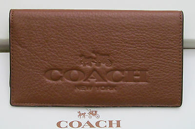 Coach Pebble Saddle Leather Checkbook Holder w/ pen loop