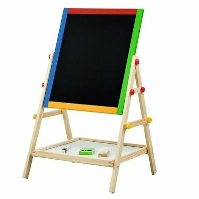 Wooden Wood Childrens Kids 2 In 1 Black & White Chalk Drawing Easel Board