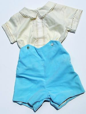 Vintage Baby Boy Infant Clothes Yellow Shirt Blue Short Pants Outfit Velvet XL