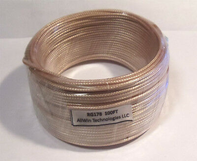 RG178 Teflon Silver Plated Coax Cable   100 FT Free shipping