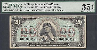 US Military Payment Certificates 20 Dollars Series 661  PMG 35 EPQ