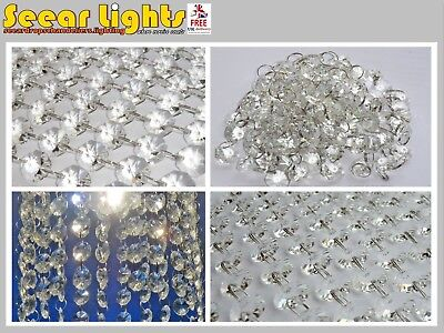 100 14mm Octagon Clear Chandelier Drops Parts Cut Glass Crystals Droplets Beads Christmas Tree Ornaments Vintage Chic Wedding Decorations Garlands