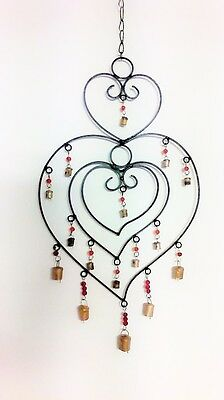 Handmade Black Large Heart Windchime with Beads Bells Ethical Trade from India