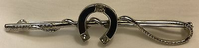 Fox Hunt Hunting Whip And Enamel Horse Shoe Silver Metal Pin