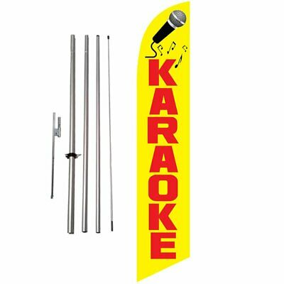 Karaoke 15ft Feather Banner Swooper Flag Kit with pole & spike