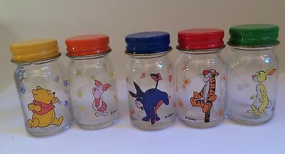 5 RARE Walt Disney Mini Glass Jars Screw Lids Winnie The Pooh Stars Containers